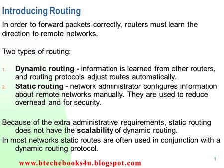 1 Introducing Routing 1. Dynamic routing - information is learned from other routers, and routing protocols adjust routes automatically. 2. Static routing.