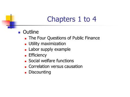 finance exam outline