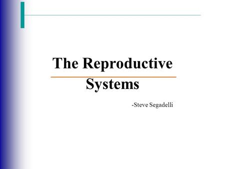 The Reproductive Systems -Steve Segadelli. The Reproductive System Slide 16.1 Copyright © 2003 Pearson Education, Inc. publishing as Benjamin Cummings.