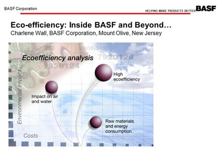 B BASF Eco-Efficiency C. Wall BASF Corporation HELPING MAKE PRODUCTS BETTER TM 1 Eco-efficiency: Inside BASF and Beyond… Charlene Wall, BASF Corporation,