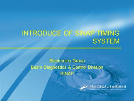 INTRODUCE OF SINAP TIMING SYSTEM