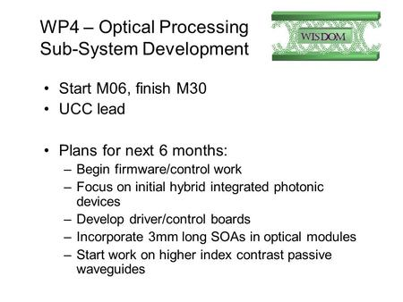 WP4 – Optical Processing Sub-System Development Start M06, finish M30 UCC lead Plans for next 6 months: –Begin firmware/control work –Focus on initial.