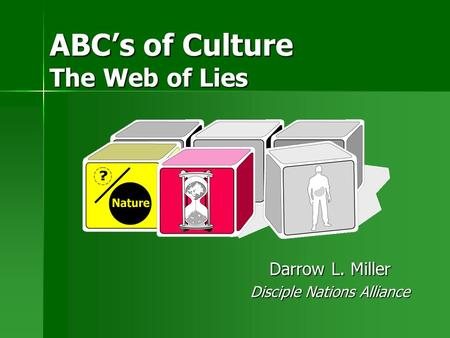 ABC's of Culture The Web of Lies Darrow L. Miller Disciple Nations Alliance.