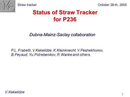 October 28-th, 2005Straw tracker 1 Status of Straw Tracker for P236 P.L. Frabetti, V.Kekelidze, K.Kleinknecht, V.Peshekhonov, B.Peyaud, Yu.Potrebenikov,