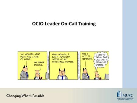 OCIO Leader On-Call Training. Agenda Definitions, Roles, Key Timelines IT Incident Process Communication Tools Helpful Hints Incident Reporting Review.