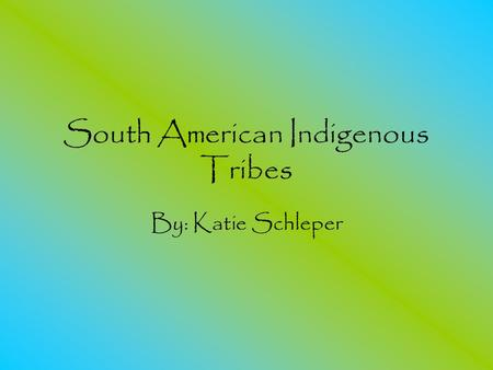 South American Indigenous Tribes By: Katie Schleper.