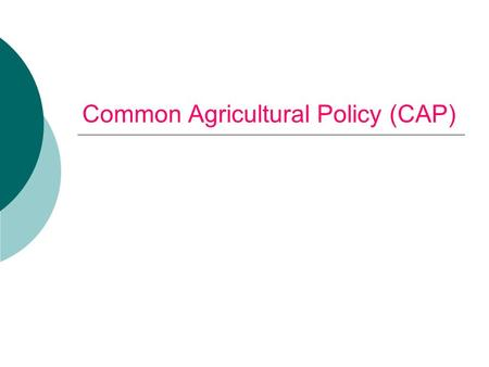 "Common Agricultural Policy (CAP). ""The Common Agriculture Policy is the single most idiotic system of economic mismanagement that the rich western countries."