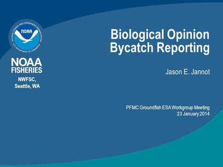 Biological Opinion Bycatch Reporting Jason E. Jannot NWFSC, Seattle, WA PFMC Groundfish ESA Workgroup Meeting 23 January 2014.