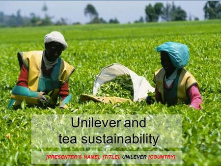 Unilever and tea sustainability [PRESENTER'S NAME], [TITLE], UNILEVER [COUNTRY]