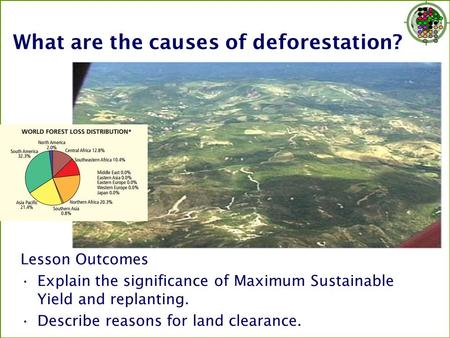 What are the causes of deforestation? Lesson Outcomes Explain the significance of Maximum Sustainable Yield and replanting. Describe reasons for land clearance.