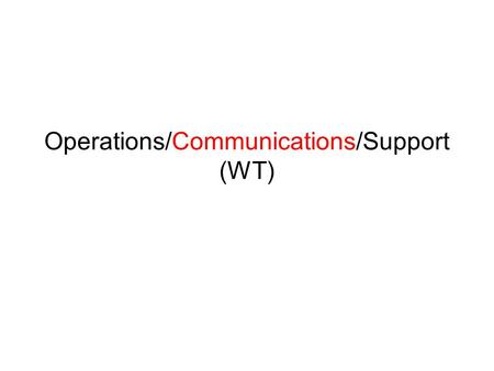 Operations/Communications/Support (WT). Current Situation Workflow Change Request Library Maintenance Communication and Capacity Building Next Steps.
