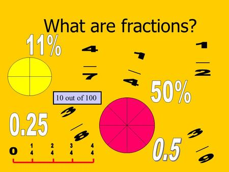 What are fractions? 10 out of 100. As you have seen on the first page of this presentation Fractions can be shown in many different ways. Fractions help.