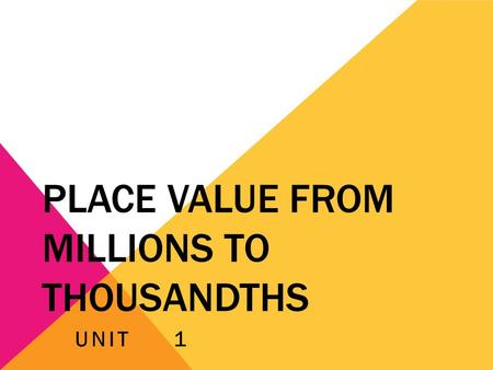 Place Value from Millions to Thousandths