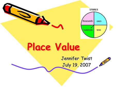 Place Value Jennifer Twist July 19, 2007. District/Elementary School Sweet Home Central School District: Heritage Heights Elementary School.