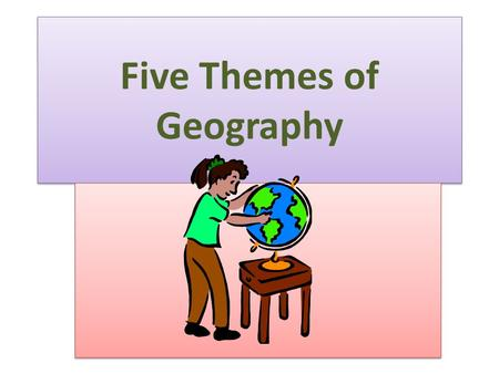 Five Themes of Geography. Location, location, location Where in the world is it? How do we find a place? To find the absolute location of a place we use.