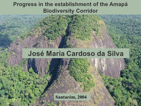 Progress in the establishment of the Amapá Biodiversity Corridor José Maria Cardoso da Silva Santarém, 2004.