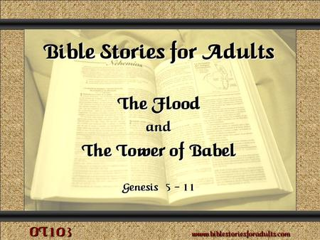 The Flood and The Tower of Babel Copyright © 2009 www.biblestoriesforadults.com. Use of this material is provided free of charge for use in personal or.