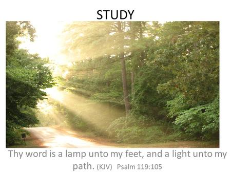 STUDY Thy word is a lamp unto my feet, and a light unto my path. (KJV) Psalm 119:105.