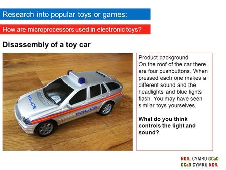 Research into popular toys or games: How are microprocessors used in electronic toys? Disassembly of a toy car Product background On the roof of the car.