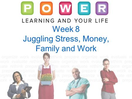 Week 8 Juggling Stress, Money, Family and Work. © 2011 by The McGraw-Hill Companies, Inc. All rights reserved.McGraw-Hill Living with Stress Almost anything.
