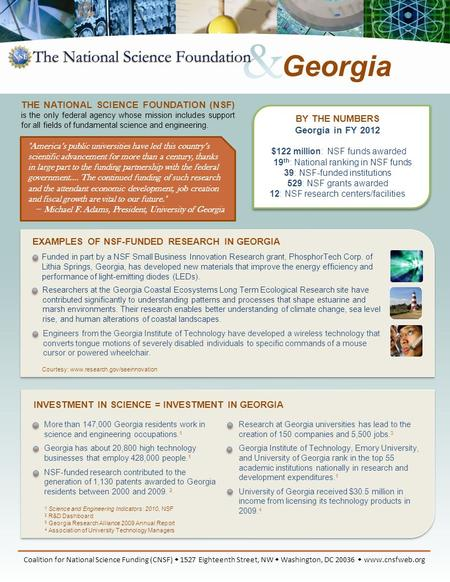 BY THE NUMBERS Georgia in FY 2012 $122 million: NSF funds awarded 19 th : National ranking in NSF funds 39: NSF-funded institutions 529: NSF grants awarded.