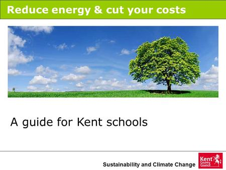 Sustainability and Climate Change Reduce energy & cut your costs A guide for Kent schools.