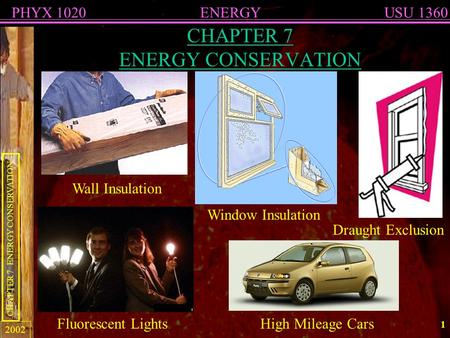 ENERGYPHYX 1020USU 1360 CHAPTER 7 ENERGY CONSERVATION 2002 1 CHAPTER 7 ENERGY CONSERVATION Window Insulation Wall Insulation Draught Exclusion Fluorescent.