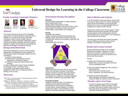 Universal Design for Learning in the College Classroom Abstract This Faculty Learning Community (FLC) integrated components of Universal Design for Learning.