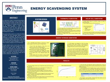 ENERGY SCAVENGING SYSTEM ABSTRACT On a daily basis, energy is constantly being wasted in both large and small scales. In the U.S alone, 56% of energy produced.