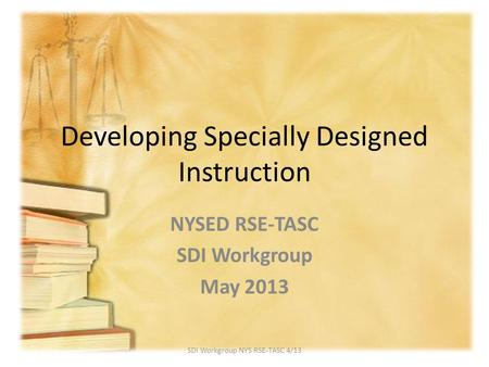 Developing Specially Designed Instruction