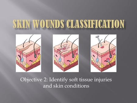 Objective 2: Identify soft tissue injuries and skin conditions.