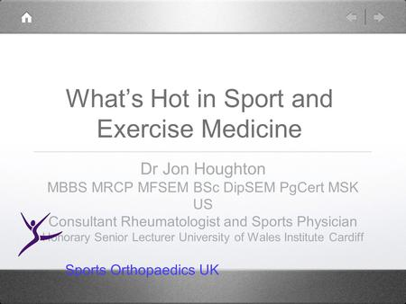 What's Hot in Sport and Exercise Medicine Dr Jon Houghton MBBS MRCP MFSEM BSc DipSEM PgCert MSK US Consultant Rheumatologist and Sports Physician Honorary.