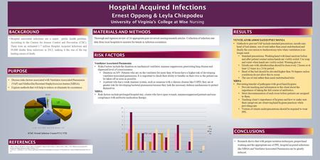Hospital Acquired Infections Ernest Oppong & Leyla Chiepodeu University of Virginia's College at Wise Nursing BACKGROUNDPURPOSE Hospital associated infections.