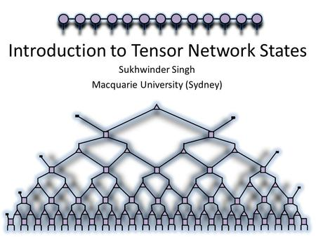 Introduction to Tensor Network States Sukhwinder Singh Macquarie University (Sydney)