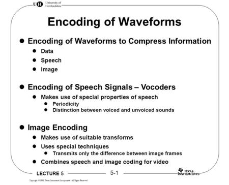 LECTURE 5 5-1 Copyright  1998, Texas Instruments Incorporated All Rights Reserved Encoding of Waveforms Encoding of Waveforms to Compress Information.