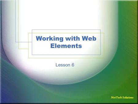 NetTech Solutions Working with Web Elements Lesson 6.