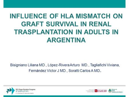 INFLUENCE OF HLA MISMATCH ON GRAFT SURVIVAL IN RENAL TRASPLANTATION IN ADULTS IN ARGENTINA Bisigniano Liliana MD., López-Rivera Arturo MD., Tagliafichi.