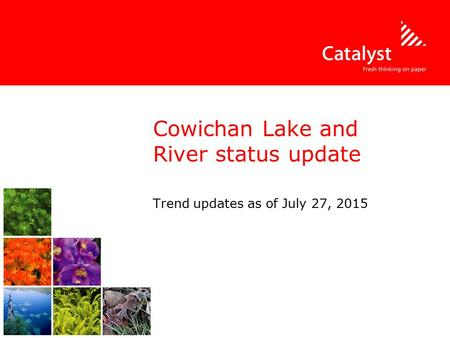 Cowichan Lake and River status update Trend updates as of July 27, 2015.