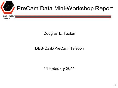 1 PreCam Data Mini-Workshop Report Douglas L. Tucker DES-Calib/PreCam Telecon 11 February 2011.