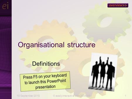 15 September 2015© easilyinteractive.com 2006-101 Organisational structure Definitions Press F5 on your keyboard to launch this PowerPoint presentation.