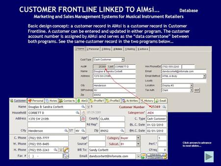 CUSTOMER FRONTLINE LINKED TO AIMsi… Database Marketing and Sales Management Systems for Musical Instrument Retailers Basic design concept: a customer record.