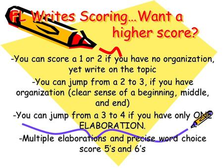 FL Writes Scoring…Want a higher score? -You can score a 1 or 2 if you have no organization, yet write on the topic -You can jump from a 2 to 3, if you.