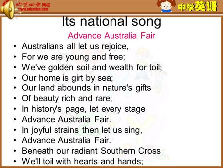 Its national song Advance Australia Fair <strong>Australians</strong> all let us rejoice, For we are young and free; Weve golden soil and wealth for toil; Our home is.
