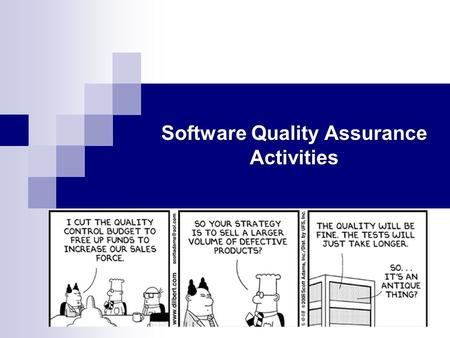 Software Quality Assurance Activities