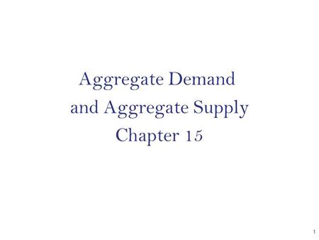 Aggregate Demand and Aggregate Supply Chapter 15 CHAPTER 1.