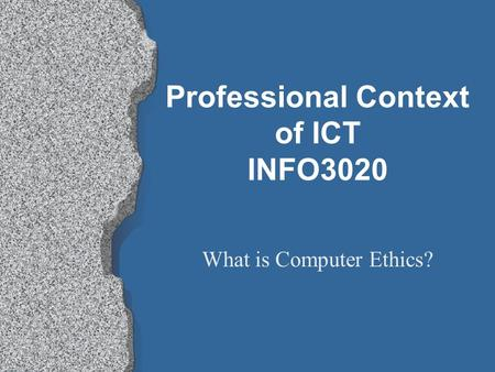 ethical theories in information technology Yesterday's technology is today's social problem: compelling need to incorporate ethical theories in information system devashish gosain, mohit sajwan, sagarkumar surani.