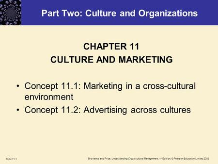 Browaeys and Price, Understanding Cross-cultural Management, 1 st Edition, © Pearson Education Limited 2009 Slide 11.1 Part Two: Culture and Organizations.