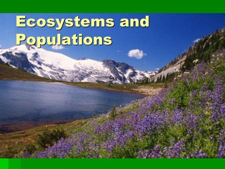 Ecosystems and Populations. Terms  Ecology: study of how organisms interact with each other and their non-living environment (biotic-living and abiotic-non.