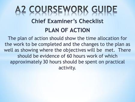Chief Examiner's Checklist PLAN OF ACTION The plan of action should show the time allocation for the work to be completed and the changes to the plan as.
