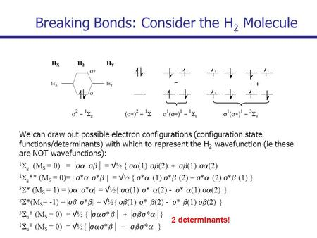 Breaking Bonds: Consider the H 2 Molecule We can draw out possible electron configurations (configuration state functions/determinants) with which to represent.